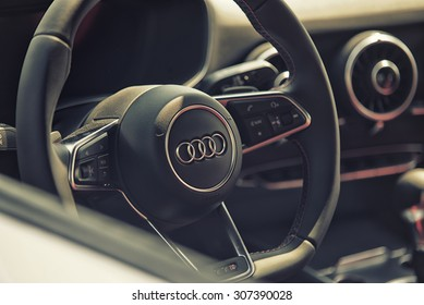 Sleza, Poland, August 15, 2015: Close up on Audi cockpit and wheel on  Motorclassic show on August 15, 2015 in the Poland