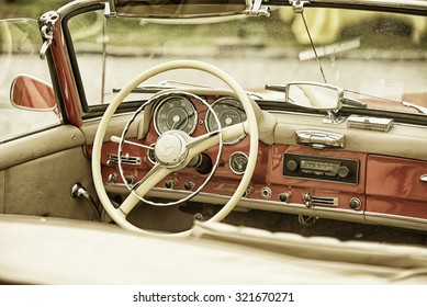 Sleza, Poland, August 15, 2015: Close up on Mercedes vintage car steering wheel and kockpit on  Motorclassic show on August 15, 2015 in the Poland