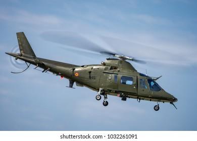 Sliac, Slovakia August. 26. 2017. SIAF 2017 - Belgium Agusta A109 fly over Sliac airfield