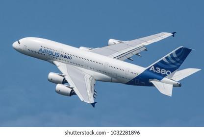 Sliac, Slovakia August. 26. 2017. SIAF 2017 - Airbus A380 fly over Sliac airfield