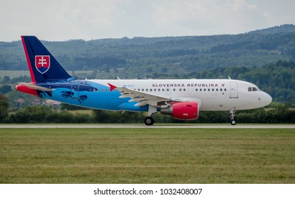 Sliac, Slovakia August. 26. 2017. SIAF 2017 - Airbus A319 - new official plane of Slovak Republic government  fly over Sliac airfield