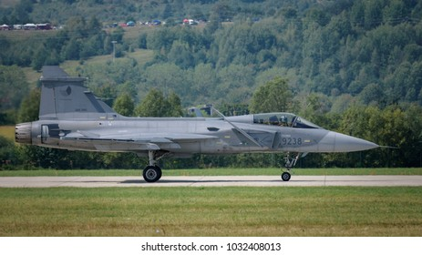 Sliac, Slovakia August. 26. 2017. SIAF 2017 - Czech Air Force SAAB JAS-39 Gripen at Sliac airfield