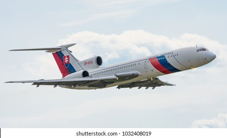 Sliac, Slovakia August. 26. 2017. SIAF 2017 - TU-154 - former official plane of Slovak Republic government fly over Sliac airfield