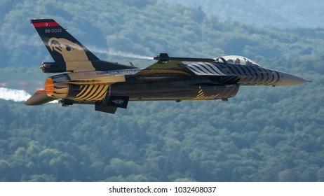 Sliac, Slovakia August. 26. 2017. SIAF 2017 - Soloturk - Turkish Air Force F-16C Fighting Falcon fly over Sliac airfield