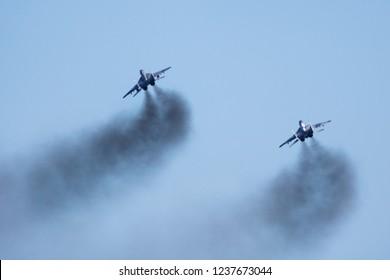 SLIAC / SLOVAKIA - AUGUST 27, 2016: Slovak air force MiG-29 pair smokey take off