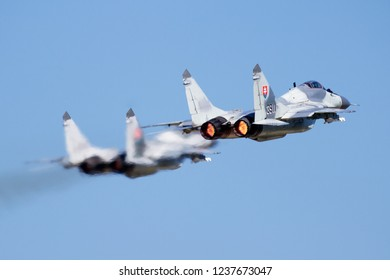 SLIAC / SLOVAKIA - AUGUST 27, 2016: Slovak air force MiG-29 pair take off with afterburner