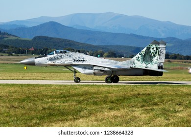 SLIAC / SLOVAKIA - AUGUST 27, 2016: Slovak air force special livery MiG-29 0921 fighter jet taxiing
