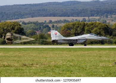 SLIAC / SLOVAKIA - AUGUST 27, 2016: Slovak Air Force MiG-29 6627 fighter jet landing at Sliac Air Base