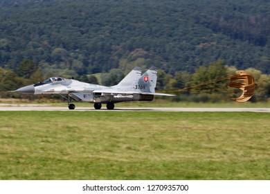 SLIAC / SLOVAKIA - AUGUST 27, 2016: Slovak Air Force MiG-29 3709 fighter jet landing at Sliac Air Base