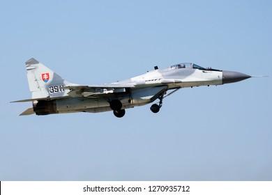 SLIAC / SLOVAKIA - AUGUST 27, 2016: Slovak Air Force MiG-29 3911 fighter jet departing from Sliac Air Base