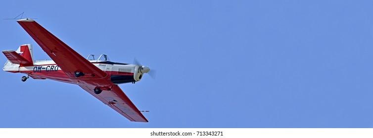 Sliac, Slovakia August. 27. 2017. Slovak International airfest SIAF 2017 - Slovensky Narodny Aeroklub, Zlín Aircraft, Z-526F (OM-CRO) - Pilot: Dusan Samko
