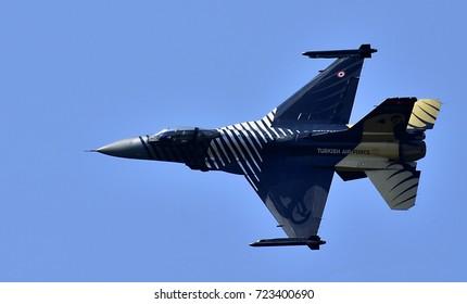 "Sliac, Slovakia August. 27. 2017. Slovak International airfest SIAF 2017 - Turkish Air Force ""SOLOTURK"" - F-16 Fighting Falcon demonstration - Pilots: 1st. Erhan GUNAR, 2nd Serdar DOGAN"