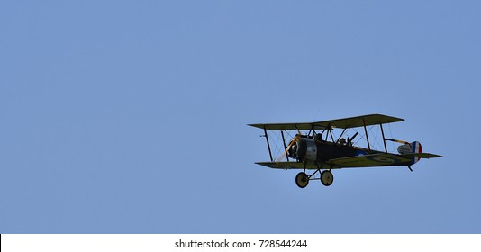 Sliac, Slovakia August. 27. 2017. Slovak International airfest SIAF 2017 - Sopwith 1 1/2 Strutter - pilot: Martin Vecko (group: Pterodactyl Flight)