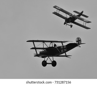 Sliac, Slovakia August. 27. 2017. Slovak International airfest SIAF 2017 - Sopwith 1 1/2 Strutter - pilot: Martin Vecko and Fokker Dr.I - pilot: Frantisek Hadrava (group: Pterodactyl Flight)