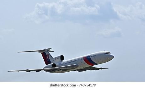 Sliac, Slovakia August. 27. 2017. Slovak International airfest SIAF 2017 - Tupoljev TU-154 passenger aircraft OM-BYO on the sky