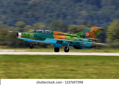 SLIAC / SLOVAKIA - AUGUST 28, 2016: Romanian air force MiG-21 Lancer fighter jet 9516 take off for display