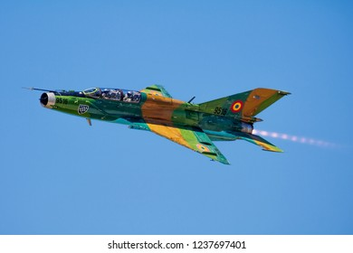 SLIAC / SLOVAKIA - AUGUST 28, 2016: Romanian air force MiG-21 Lancer fighter jet 9516 display with full afterburner