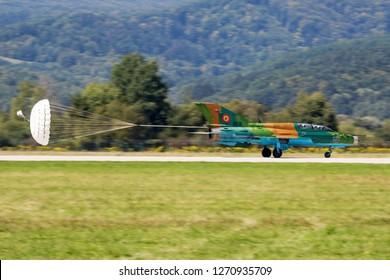 SLIAC / SLOVAKIA - AUGUST 28, 2016: Romanian Air Force MiG-21 9516 fighter jet landing at Sliac Air Base