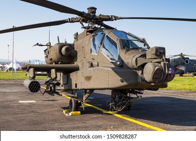Sliac / Slovakia - August 3, 2019: United States US Army Boeing AH-64E Apache Guardian 17-03153 attack helicopter static display at SIAF Slovak International Air Fest 2019