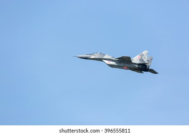 SLIAC, SLOVAKIA - AUGUST 30: Flight of Mig 29 Fulcrum of Polish Air Forces at SIAF airshow in Sliac, Slovakia on August 30, 2015