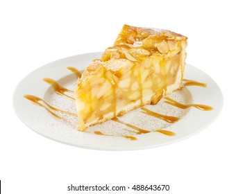 Slice of apple pie isolated on white background. Include clipping path.