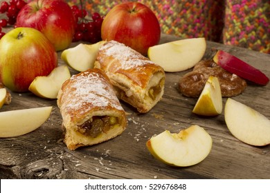 Slice of Apple strudel with apples