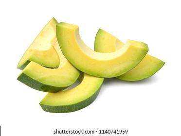Slice Avocado isolated on white background