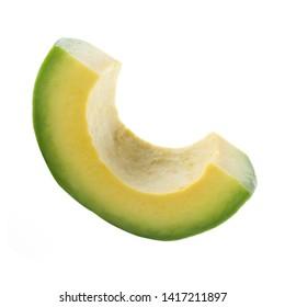 slice of avocado isolated on white background