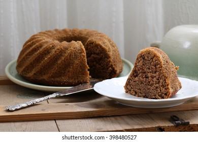 Slice of banana bundt cake.