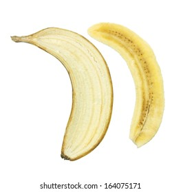 Slice of Banana on White Background