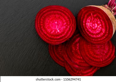 slice of beetroot isolated on stone plate
