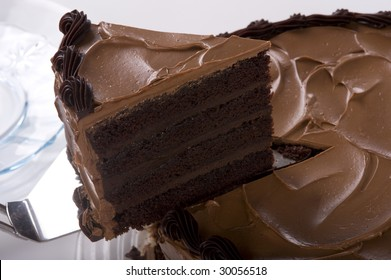 A slice being served from a Chocolate Cake