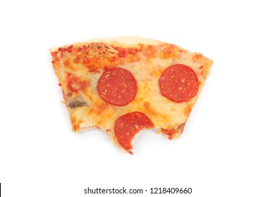 slice of bited pizza isolated on white