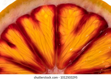 Slice of a blood orange in the mineral water