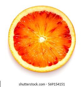 Slice of blood orange on white background