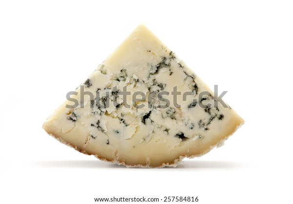 Slice of blue Stilton cheese on a white background