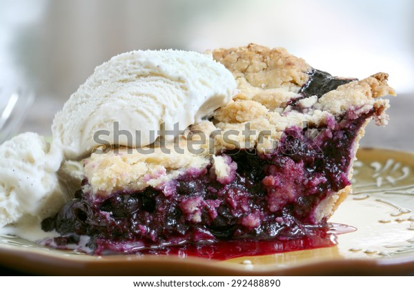 Slice of Blueberry Pie with vanilla ice cream on rustic wooden table