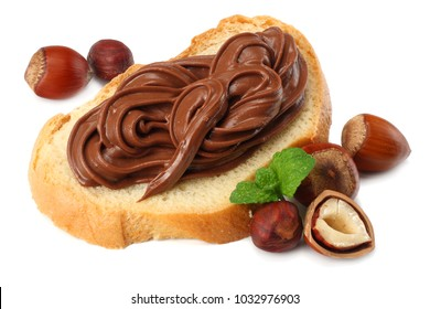 Slice of bread with chocolate cream with hazelnut isolated on white background