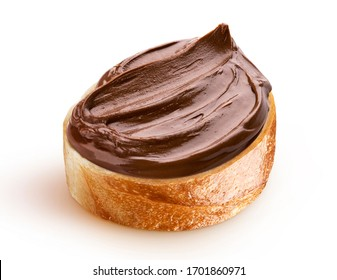 Slice of bread with chocolate cream with hazelnut isolated on white background with clipping path