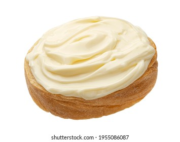 Slice of bread with cream cheese isolated on white background, toast with melted cheese, top view - Shutterstock ID 1955086087