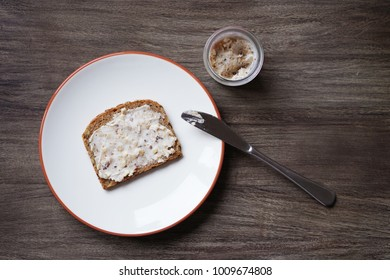 slice of bread and dripping or crackling fat or lard with greaves called Schmalzbrot in Germany