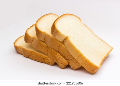 slice of bread on white background