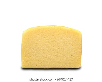 A slice of butter cake isolated on white background