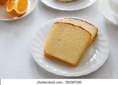 slice of butter sponge cake.