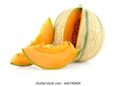 Slice of Cantaloupe melon with whole on white background