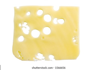 Slice of cheese isolated on white background (clipping path included)