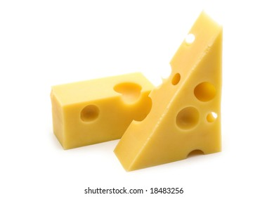 slice cheese on white background