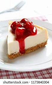 Slice of Cherry Cheesecake