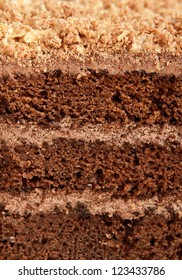A slice of chocolate cake closeup