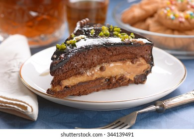slice of chocolate cake in small dish